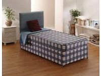 Brand New Comfy Single Bed set in Blue Check, Padded Spring , FREE Delivery 2 Available