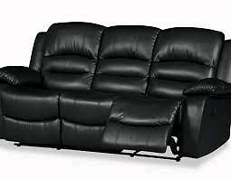 Black leather reclining couch  Sarnia Sarnia Area image 2
