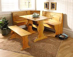 Solid wood breakfast nook.