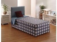 Brand New Comfy Single Divan Bed set in Blue, FREE delivery 2 Available