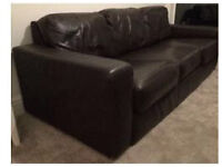 Modern Extra Comfy Chocolate Brown Leather Suite of 2x Sofas and Chair and footstool From IKEA