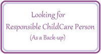 Looking for Responsible ChildCare Person(as a back-up) - Digby