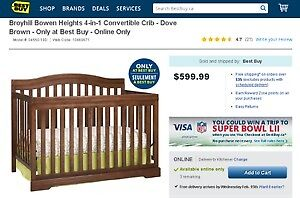 Broyhill crib 4 in 1 - never used Nice dove brown color!!