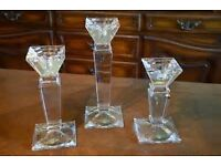 3 Heavy Crystal Candle Holders.