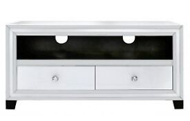 White mirror 2 drawer media tv unit