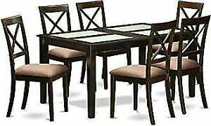 Dining Table with chairs - Four glass inserts