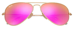 5f05578858861 Ray-Ban Aviator Cyclamen Pink Mirror Lens with Matte Gold Frame - Rb3025 112  4t 58-14
