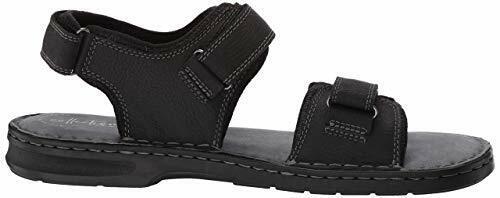 Clarks Men's Malone Shore Black Tumbled Leather Sandals 26139872 1