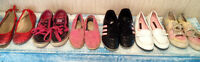 SIX Pairs Girls Shoes Sz1-3 Toms Vans Dress Cleats For $10 Total