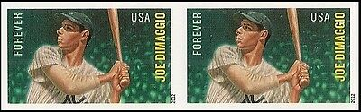 US 4697A MLB JOE DIMMAGGIO IMPERF NDC HORZ PAIR MNH 2012