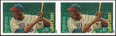 US 4695A MLB LARRY DOBY IMPERF NDC HORZ PAIR MNH 2012