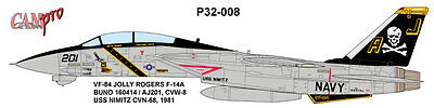 CAM PRO DECAL, 1/32 SCALE, P32-008, F-14A TOMCAT, VF-84 Jolly Rogers,