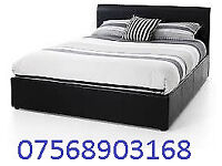 BED STILL WRAPPED DOUBLE LEATHER BED INC MATTRESS FREE BEDSIDE CABINET 7966