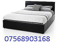 BED STILL WRAPPED DOUBLE LEATHER BED INC MATTRESS FREE BEDSIDE CABINET 2384