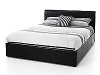 STILL WRAPPED DOUBLE LEATHER BED INC MATTRESS FREE BEDSIDE CABINET 698