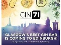 Cocktail Bartenders required for Award winning Gin71 bar new to Edinburgh!