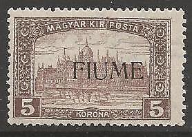 FIUME SG19 1918 5k PALE BROWN & BROWN MTD MINT
