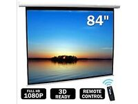 "84"" White 4:3 16:9 HD 3D Electric Motorised Projector Screen Matt with Remote Control"