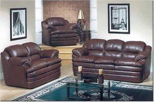 HOLIDAY SPECIALS ON NOW 3PC BONDED LEATHER  CANDIAN MADE SOFA SET $869