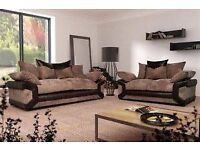 BRAND NEW DINO SOFAS 3+2 SEATER JUMBO CORD AND LEATHER GREY BLACK BEIGE BROWN