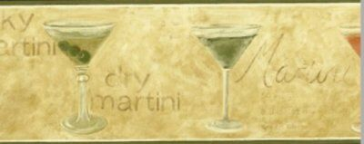 Martini Glass Wallpaper Border (Martini Glass Alcoholic Drink Wallpaper Border Beige Olive Bar Man Cave Waverly )