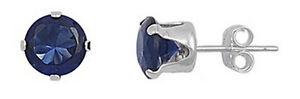 Vintage Womens 925 Sterling Sapphire Gemstone Stud Pierced Earrings 5 MM- 1 CT