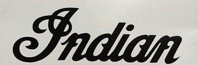 "Indian Scout Motorcycle Script Logo 2"" x 6"" GLOSS BLACK Tank Helmet Decal Set 2"