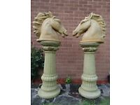 Pair Large French Gold Marble Style Stone Horse Head Busts & Fancy Fruit Columns
