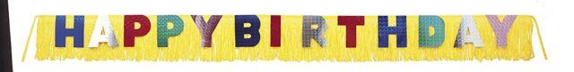 Happy Birthday 10ft (3m) Giant Fringe Banner