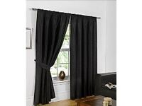 "Pair of Black Faux Silk Tape Top Curtains. Lined. 63 "" wide x 90"" Long x 2. With Tiebacks. New."