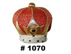 Kings-Crown-Queen-Mens-Womens-Costume-Adults-Royal-Plush-Hat-Fancy-Dress-NEW