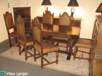 English Tuder Oak  8 Piece Dining Set with Leather Studded Chrs.