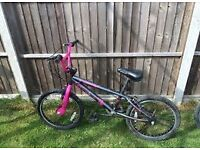 Girls Pink and Black BMX age 6 + bought from halford 4 years ago only been used a few times