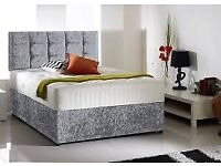 FURNITURE-Double & King Size Crushed Velvet Divan Bed Base With Opt Mattress-OPT CHEST OF DRAWERS