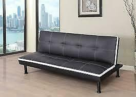 Goldie Faux Leather Convertible Sofa ( FUTON ) NEW ** SPRING BLOW OUT SALE ** 5 CORNERS FURNITURE **