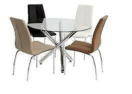 New round glass dining table with chrome legs & 4 chairs Only £329
