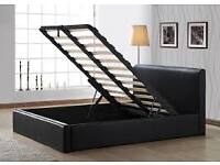 Single Storage Leather Bed with Mattress or frame available in black and brown
