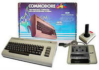 An Amiga computer or Commodore 64 with some Peripherals