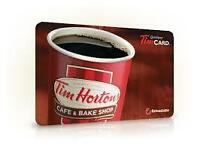 tim hortons gift card for sale 20% off