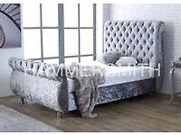 crush velvet double bed for sale