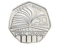 Rare Collectible 50p Coin - 150th Anniversary of the Public Libraries Act (2000)