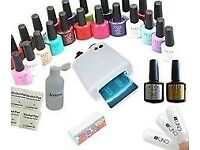 36w gel cure lamp and 12 gel polishes (new)