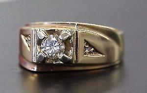 ** $3,885.00 VALUE ** 10K White + Yellow Gold Men's Ring