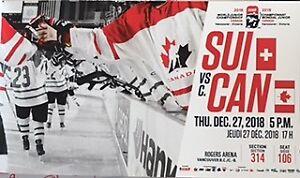 *CAN* IIHF World Junior Championships. Dec 27. CAN vs SUI. 1 pr.