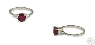 Estate Platinum Ladies Diamond Ruby Ring