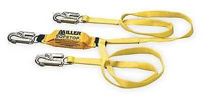 Miller 87986ftyl Shock Absorbing Lanyard 2 Legged Nip