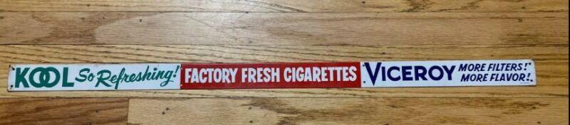 "Vintage KOOL Viceroy Cigarettes Metal Advertising Shelf Sign Display 30""x1.5"""