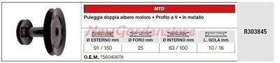 Polea Doble Árbol Motor MTD Tractor Podadora Cortacésped R303845