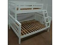 Furniture Comforts-Trio Wooden Bunk Bed Frame in Oak and White Color Options-Kids and Adult Bed