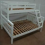 Same day drop-Trio Wooden Bunk Bed Frame in Oak and White Color Options-flat packed